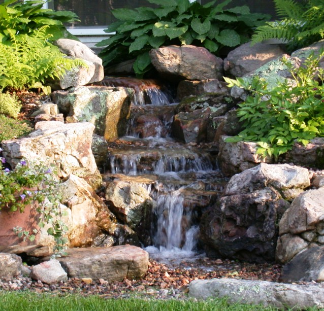 Apartment , 11 Awesome Backyard Waterfalls Ideas : Beauty Of A Backyard Waterfall