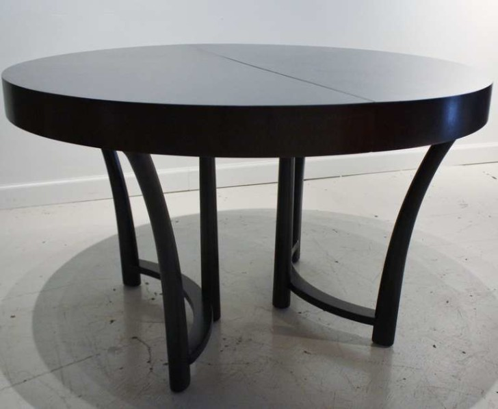 Furniture , 13 Expandable Round Dining Table Idea : Black-Expandable-Round-Dining-Table