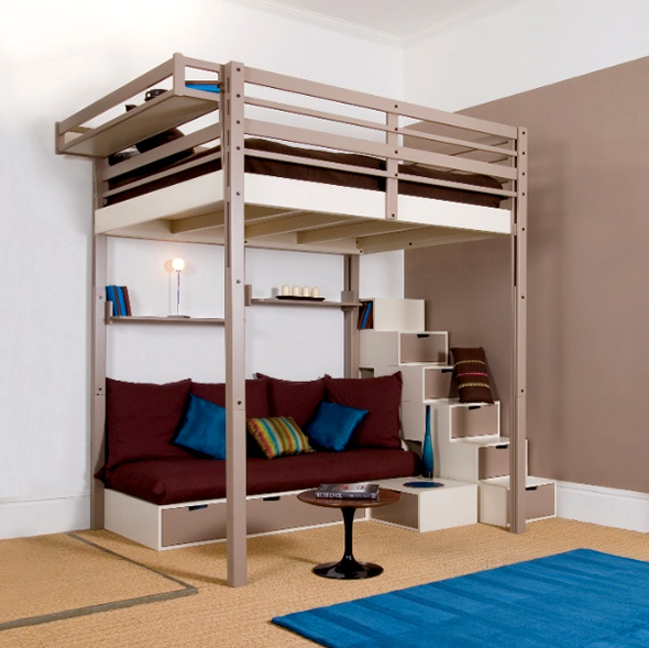 Bedroom , 8 Cool Loft Beds Idea For Adults : Small Space Loft Bed Adult Design