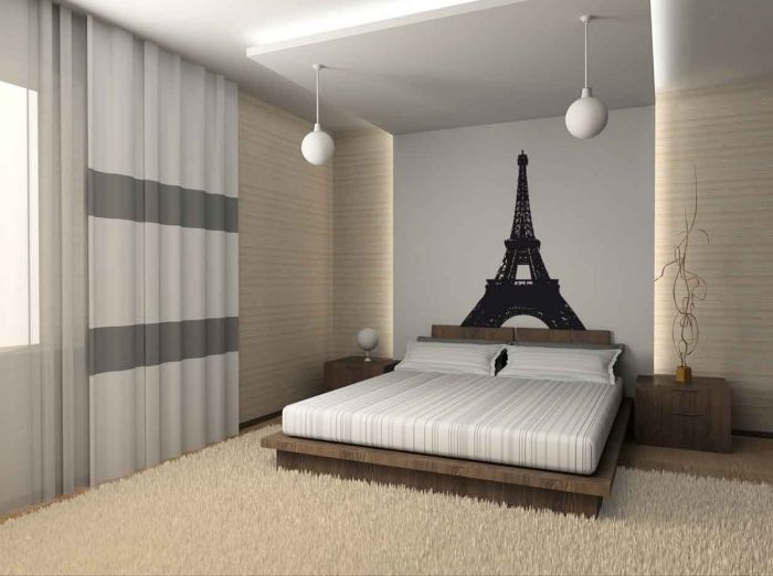 Bedroom , Paris Themed Bedrooms Picture : White-Paris-themed-bedroom-design