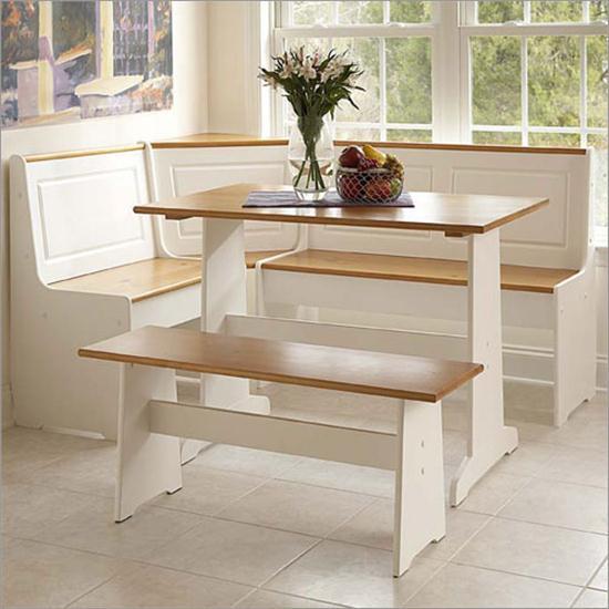 Kitchen , 11 Inspiring Kitchen Nook Sets Idea : White Pine-Corner-Breakfast-Nook-Set-at Kitchen