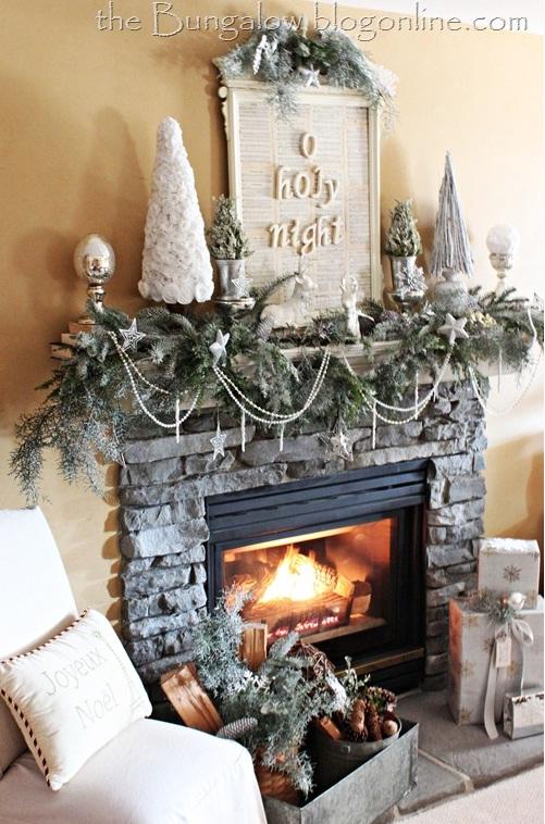 Furniture , 12 Christmas Mantel Decorating Ideas Pictures : Winter Mantle Christmas Decoration Ideas