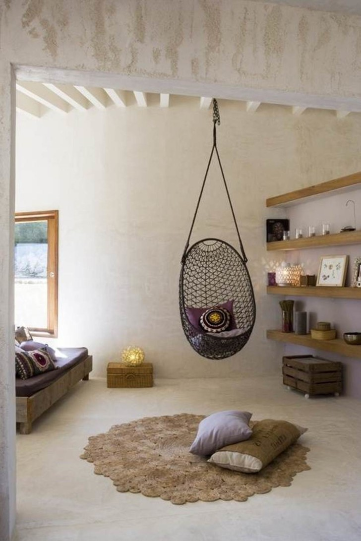 Furniture , Hanging Chairs For Bedrooms Ideas : Black Hanging Chairs For Bedrooms