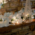 Furniture , 12 Christmas Mantel Decorating Ideas Pictures : blue-white-mantel-decor