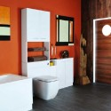 orange-bathroom-decor-ideas-with white cabinet , Orange Small Bathroom Design In Bathroom Category