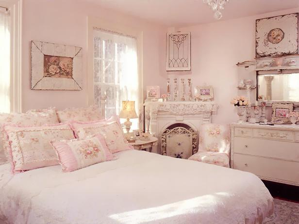 Bedroom , 6 Shabby Chic Bedrooms Idea : pink-shabby-chic-bedroom-with-feminine-floral