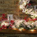 Furniture , 12 Christmas Mantel Decorating Ideas Pictures : red-silver-mantel-decor