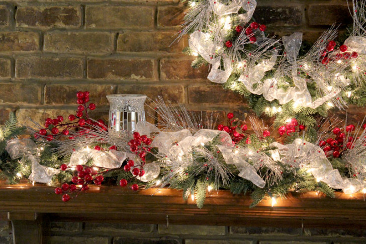 Furniture , 12 Christmas Mantel Decorating Ideas Pictures : Red Silver Mantel Decor