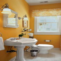 small bathroom with orange color , Orange Small Bathroom Design In Bathroom Category
