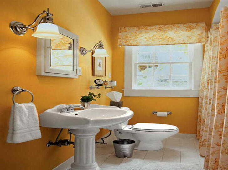 Bathroom , Orange Small Bathroom Design : small bathroom with orange color