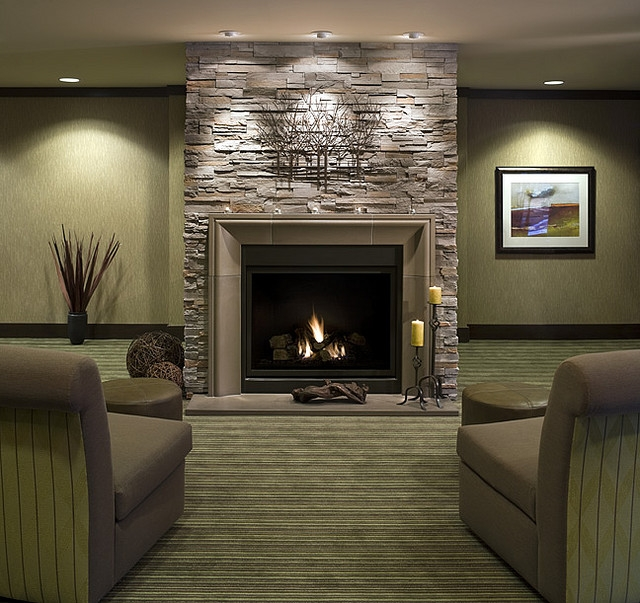 Living Room , 8 Stacked Stone Fireplace Ideas : stacked stone firepace ideas