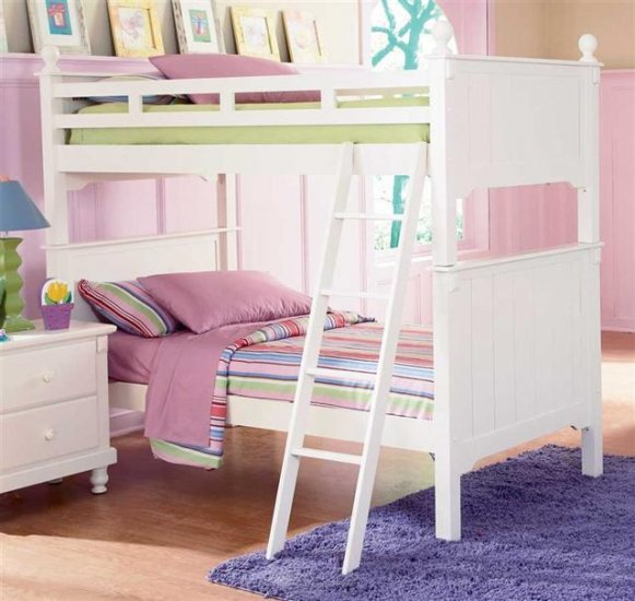 Bedroom , Pottery Barn Cottage Loft Bed : Pottery Barn Collection Loft Bed in White
