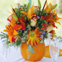 pumpkin flower centerpieces with glass , 12 Amazing Pumpkin Centerpieces In Lightning Category