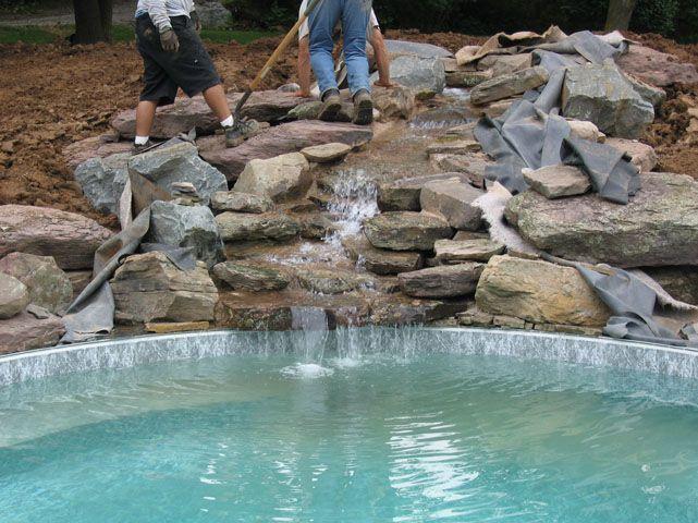 Apartment , 5 Inground Pool Waterfalls Idea : small inground pool waterfalls