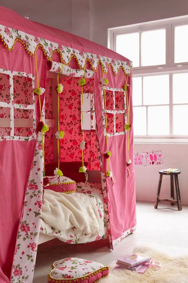 Bedroom , 4 Unique Girls Canopy Bed Curtains : Canopy Bed