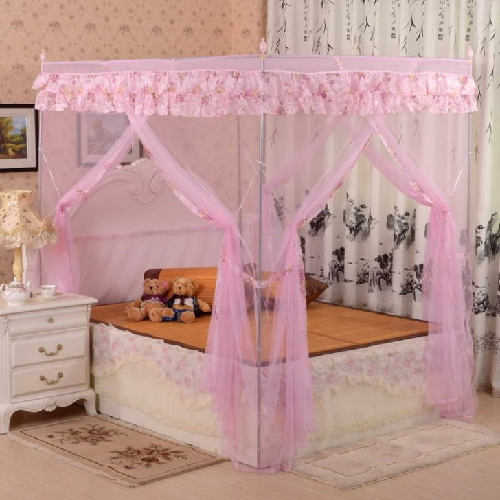 Bedroom , 4 Unique Girls Canopy Bed Curtains : Contemporary Canopy Bed
