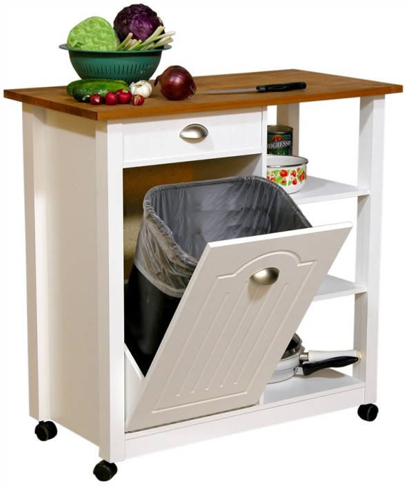 Kitchen , 8 Nice Kitchen Island With Garbage Bin : Fabulous And Attractive Mobile Trash