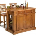 Homestyles Oak Kitchen Island , 7 Stunning Movable Kitchen Islands With Stools In Kitchen Category