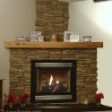 Stacked stone fireplace against white walls , 7 Nice Stack Stone Fireplaces In Furniture Category