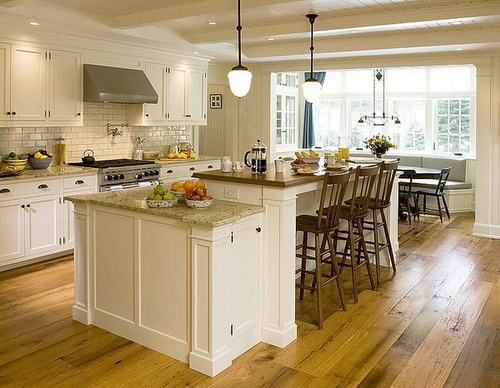 Kitchen , 7 Gorgeous Stationary Kitchen Islands With Breakfast Bar : Stationary White Cabinets Kitchen Island