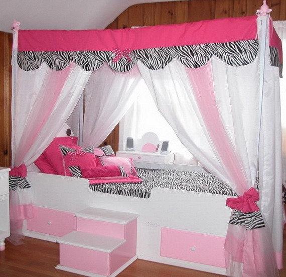 Bedroom , 4 Unique Girls Canopy Bed Curtains : White Canopy Bed
