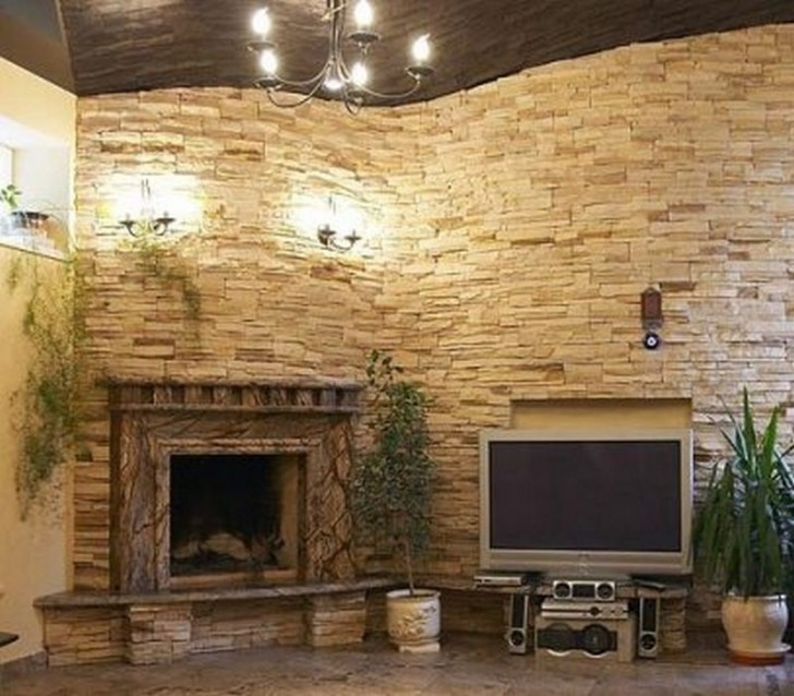 Furniture , 8 Beautiful Stacked Stone Fireplace Pictures : stacked stone fireplace