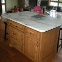 Knotty alder kitchen island , 9 Fabulous Marble Topped Kitchen Island In Kitchen Category