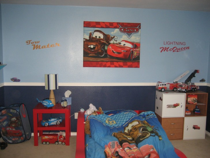 Bedroom , 8 Cool Lightning Mcqueen Bedroom Ideas : Lightning McQueen and Tow Mater Wall Canvas