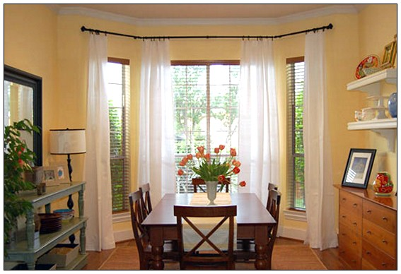 Furniture , 7 Good Valance Ideas For Bay Windows : Bay Window Curtains