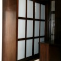 Simple Dark Wooden Bedroom , 8 Charming Frosted Sliding Closet Doors In Furniture Category