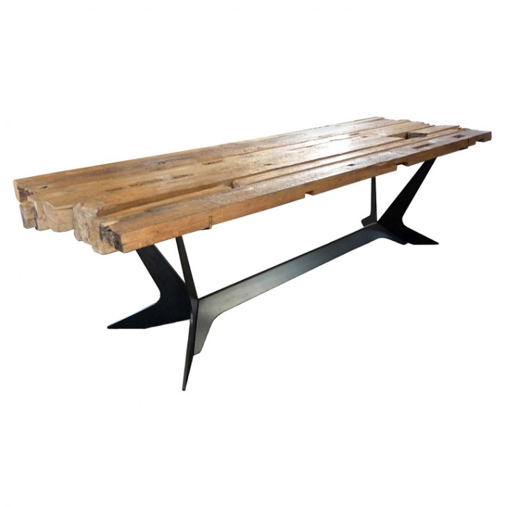 Furniture , 8 Unique Reclaimed Teak Dining Table : Steel Dining Table