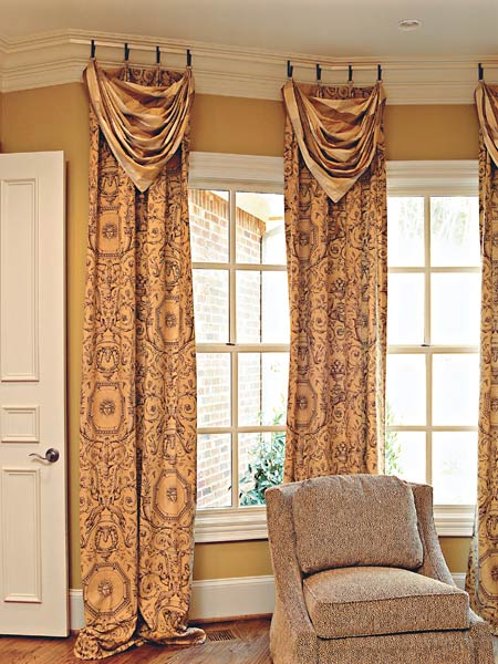 Living Room , 7 Awesome Drapery Ideas For Bay Windows :  curtain rods for bay windows