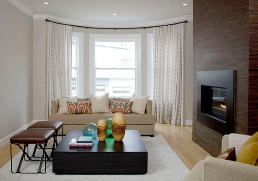 Living Room , 8 Charmming Window Treatments For Bow Windows In Living Room :  design small living room