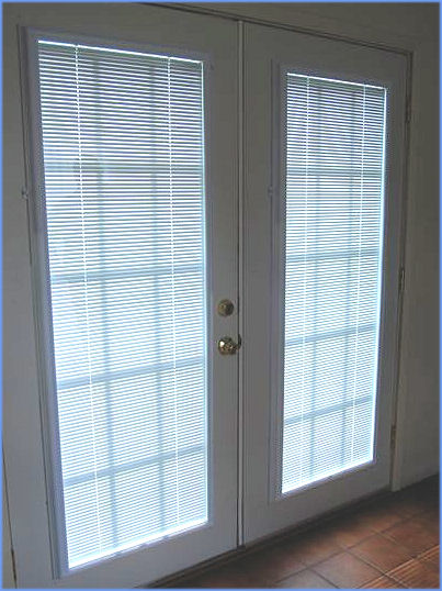 403x538px 8 Unique French Door Enclosed Blinds Picture in Living Room