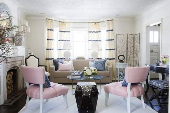Living Room , 7 Awesome Window Treatments For Bow Windows In Living Room :  living room design ideas