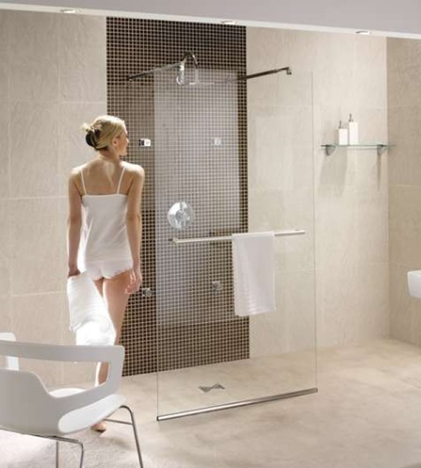 Bathroom , 6 Charming Doorless Walk In Shower :  modern bathroom design