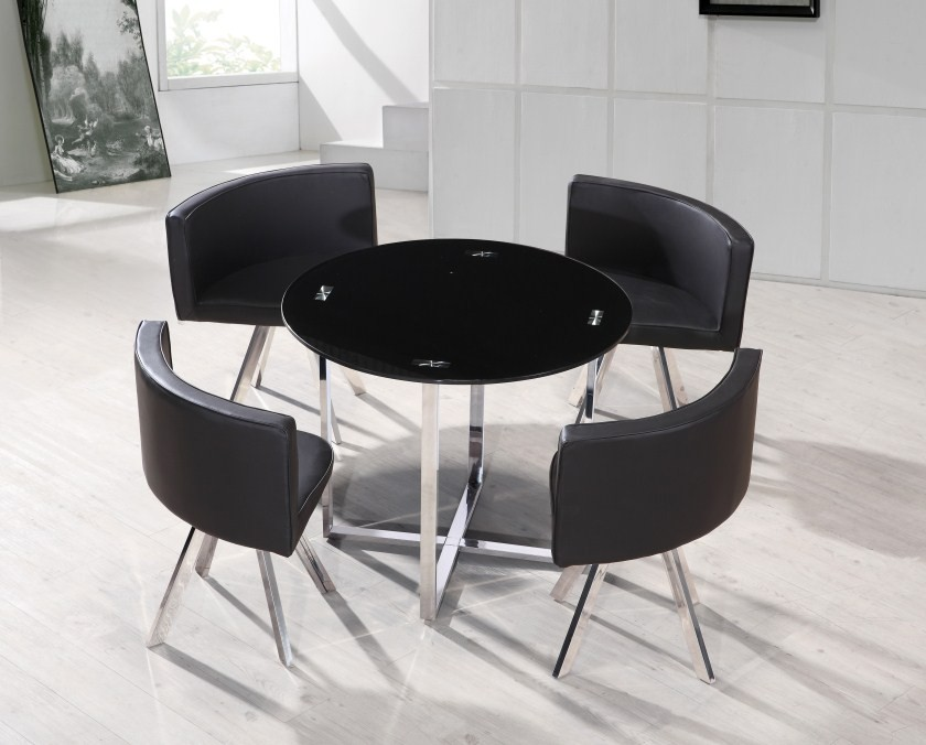 Best 20 space saver dining table ideas on pinterest space for Round dining table with hidden chairs