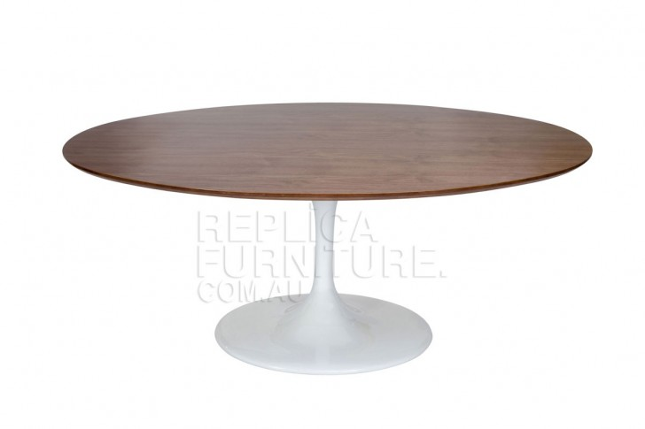 Furniture , 7 Gorgeous Oval Tulip Dining Table : Dining Table in Walnut