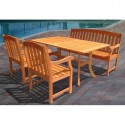 Outdoor Wood Patio Dining Set , 8 Excellent Rectangle Dining Table With Bench In Furniture Category
