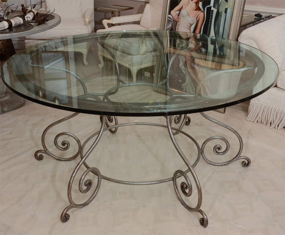 Round glass top dining table 7 excellent wrought iron for Glass top dining table next