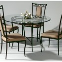 Round Wrought Iron Glass Top Dining Table , 7 Excellent Wrought Iron Glass Top Dining Table In Dining Room Category