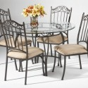 Table Chair Set , 7 Excellent Wrought Iron Glass Top Dining Table In Dining Room Category