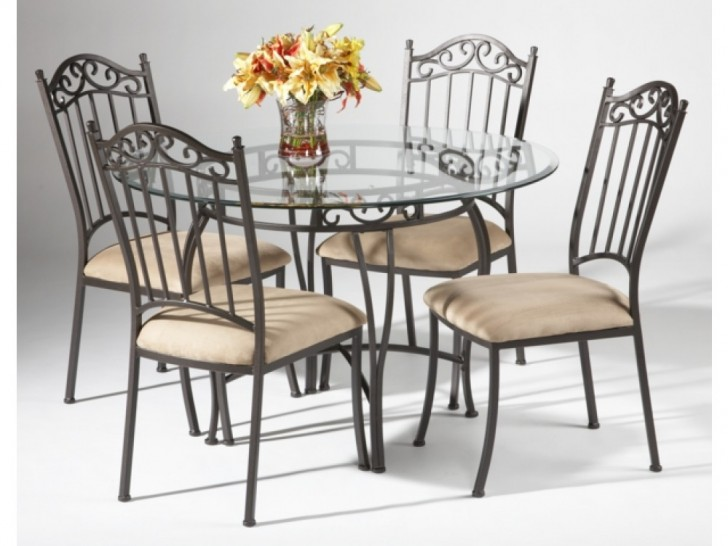 Dining Room , 7 Excellent Wrought Iron Glass Top Dining Table : Table Chair Set