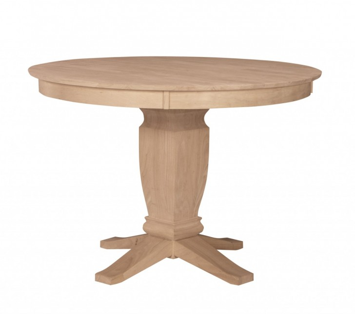Furniture , 7 Stunning Unfinished Round Dining Table : Unfinished Solid Top Round Pedestal Table