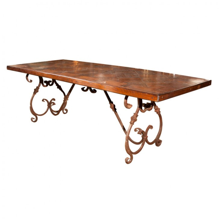 Furniture , 8 Nice Wrought Iron Dining Table Bases : Wood Top Dining Table