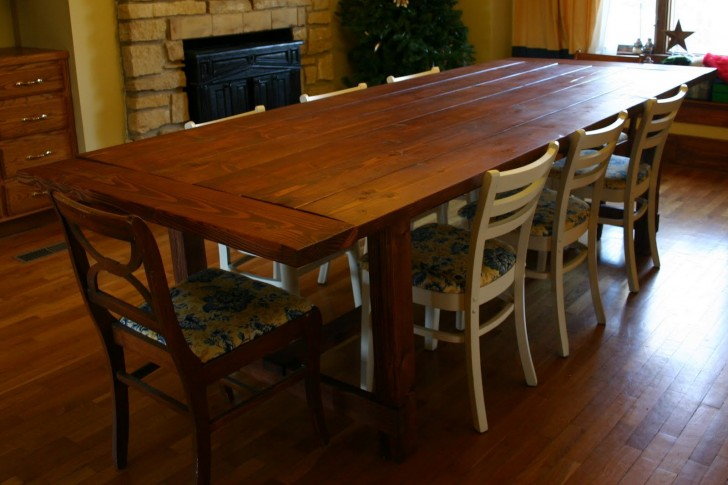 Furniture , 6 Best Farmhouse Dining Table Plans : foot long dining room