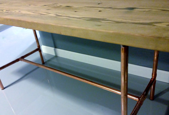 With Copper Pipe Base 8 Good Reclaimed Wood Dining Table Chicago