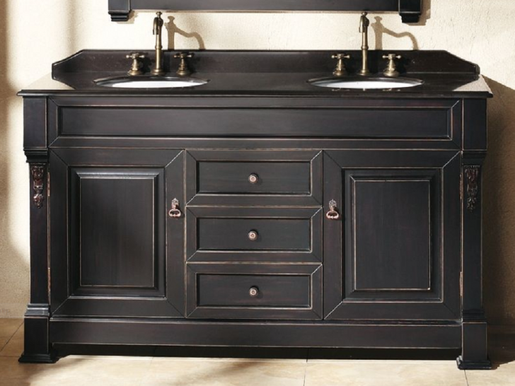 Furniture , 6 Awesome Double Sink Vanity 60 Inch : 60 Inch Double Sink Antique Black Vanity