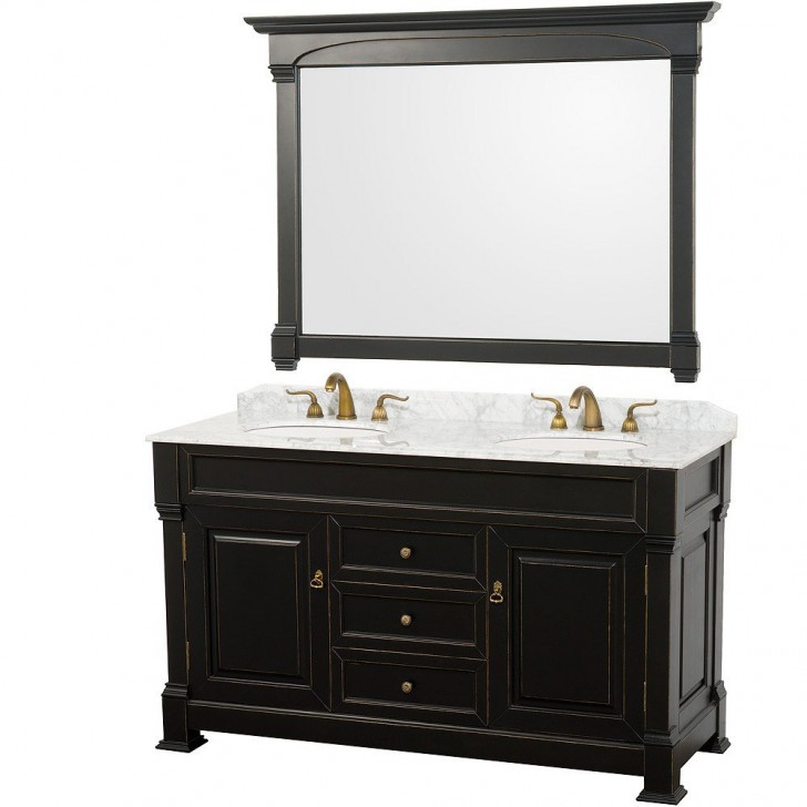 Furniture , 7 Cool 60 Inch Double Sink Vanity : 60 Inch White Carrera Marble