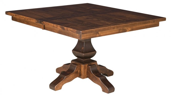 Furniture , 6 Popular Rustic Pedestal Dining Table : Amish Rustic Square Dining Table